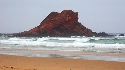 Coastal Rock Island At Ocean Beach