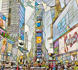 Stained Glass View of Times Square New York City (NYC)