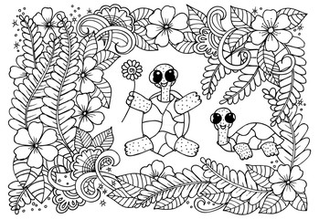 Two smiling turtles and doodle flowers around them for coloring