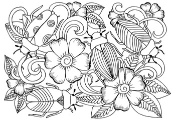Vector monochrome bugs and flowers for coloring.