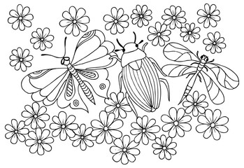 Bug, dragonfly, butterfly and flower pattern for coloring.