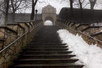 Stone stairs leading to the Basilica of St. Anne on Mount St. An