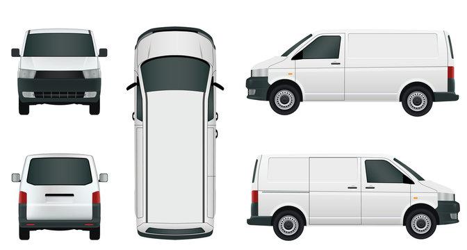 White cargo minivan on a white background - Stock Vector.