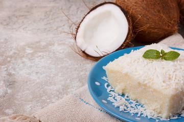 Brazilian traditional dessert: sweet couscous (tapioca) pudding