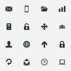 Set Of 16 Simple Application Icons. Can Be Found Such Elements As User, Arrows, Notebook And Other.