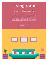 Living room interior banner in bright colors for your web design.