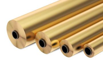 copper or bronze foil rolls, 3D rendering