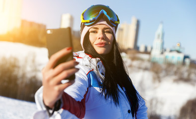 Athlete doing selfie on winter