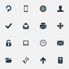 Set Of 16 Simple Apps Icons. Can Be Found Such Elements As Refresh, Sand Timer, Open Padlock.