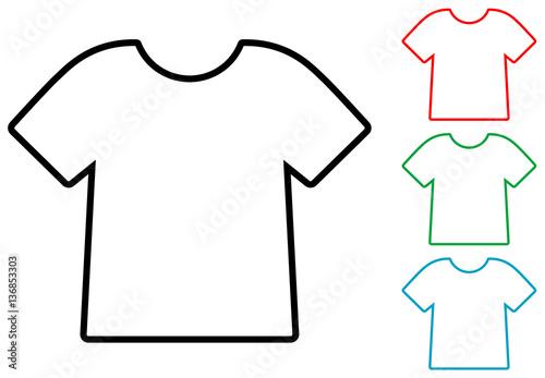 Icono plano silueta camiseta varios colores