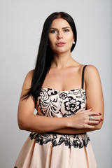 Portrait of brunette in dress