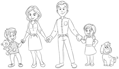 Eine glückliche Familie mit Hund Vektor-Illustration