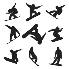 Snowboarder jump in different pose silhouette people vector.