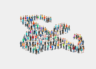 Flat isometric crowd of people vector. 3d Society Strength.