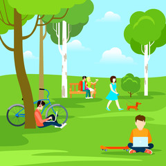 Flat Rest Nature people park laptop grass dog selfie vector