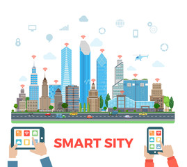 Flat Urban skyscraper tablet smartphone vector Smart city
