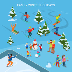 Flat adult children snowman vector. Family Winter holidays