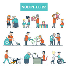 Linear Flat volunteer to disabled people vector Dog walking, babysitting Volunteering concept.
