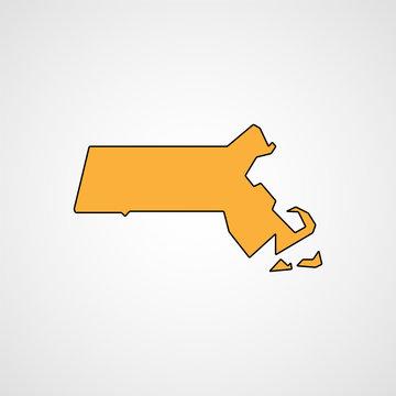 Map of Massachusetts. Vector