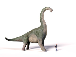 comparison of the size of an adult Brachiosaurus altithorax from the Late Jurassic and a 1.8m human (Homo sapiens), 3d illustration