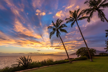 Magical Hawaiian Sky at sunset from Kamaole beach one, South kihei , Maui, Hawaii