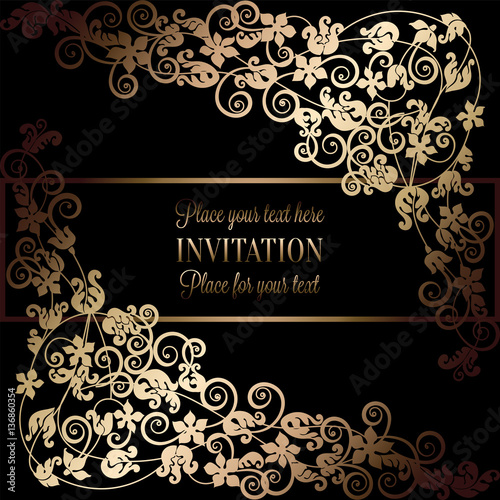 Floral background with antique luxury black and gold for Baroque fashion design