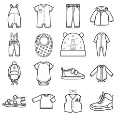 Baby clothes icons set.Clothing for boy.
