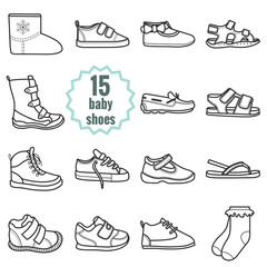 Baby shoes icons set.Shoes for summer and winter.