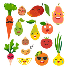 Emoticons food vector set. Cute funny stickers. Emoji fruits and vegetables flat cartoon style. Isolated on white background