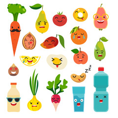 Emoticons food vector set. Cute funny stickers. Emoji flat cartoon style. Isolated on white background