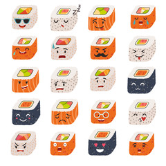 Sushi emoji vector set. Emoji sushi with faces icons. Sushi roll funny stickers. Food, cartoon style. Vector illustration isolated on white background