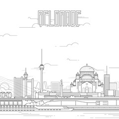 Belgrade city with iconic buildings. Line art flat design. Vector illustration.