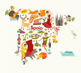Fototapete - Spain map vector, contour. Illustrated map of Spain for children/kid. Cartoon abstract atlas of Spain with landmark: flamenco, guitar, sangria, paella, bullfight and jamon