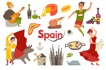 Wall Mural - Spain traditional symbols set.Travel tourist element.Hola sign.Traditional spainish corrida; flamenco; guitar.Spanish food: jamon; olive oil; paella; sangria cartoon style.Isolated vector illustration