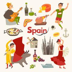 Fototapete - Spain traditional symbols set.Travel tourist element.Hola sign.Traditional spainish corrida, flamenco, guitar.Spanish food: jamon, olive oil, paella,sangria cartoon style.Isolated vector illustration