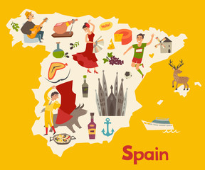 Fototapete - Spain map vector. Illustrated map of Spain for children/kid. Cartoon abstract atlas of Spain with landmark: flamenco, guitar, sangria, paella, bullfight and jamon