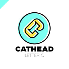cat head negative shape on letter c logo
