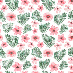 Watercolor Light Pink Flowers And Green Fern Seamless Pattern