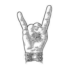 Rock and Roll hand sign. Vector black vintage engraved illustration.