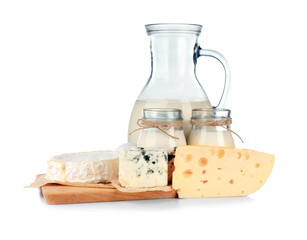 Fotobehang Zuivelproducten Dairy products on white background