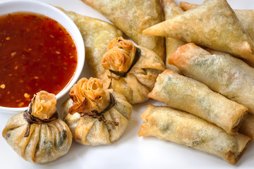 Asian Appetizers with Sweet Chili Sauce