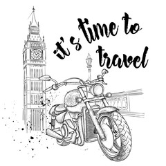 Hand drawn vintage motorcycle on background. London, Big Ben. Vector illustration