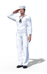 Sailor Saluting in Navy Uniform