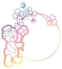 Gradient frame with shamrock and cute teddy bear. Raster clip art.