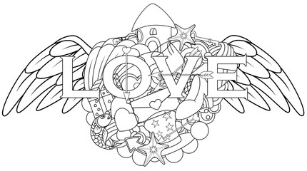 Love hand lettering and doodles elements with angel wings