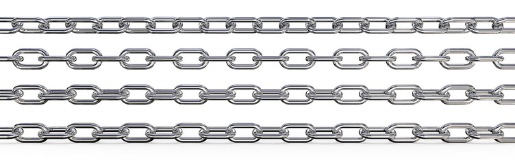 Metal Chains. Set of 4 metal Chains. Different rotations and Wide ratio. 3 top are Isolated,  3D render.