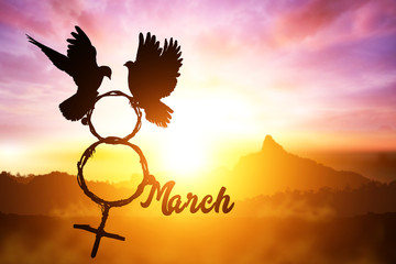 Foto En Lienzo - silhouette of dove holding branch in 8th March text and Venus symbol shape flying on sunset  sky for International Women's Day background