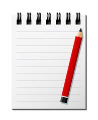 Vector Illustration Of A Notebook And A Pencil As Background. Global Colors, Separate Layers