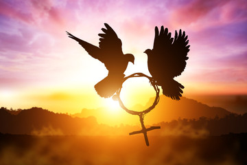 Foto En Lienzo - silhouette of dove holding branch in Venus symbol shape flying on sunset sky for International Women's Day background