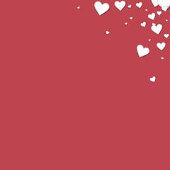Beautiful paper hearts. Top right corner gradient on crimson background. Vector illustration.
